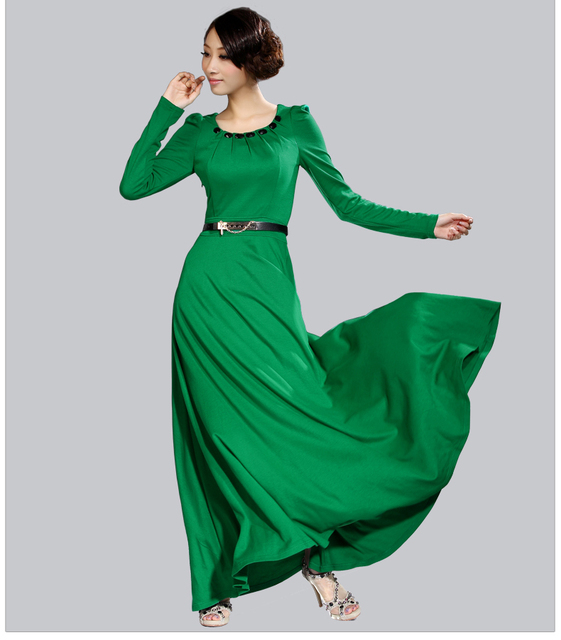2014 Spring And Autumn Womens Cotton Long Sleeve Maxi Dress Full