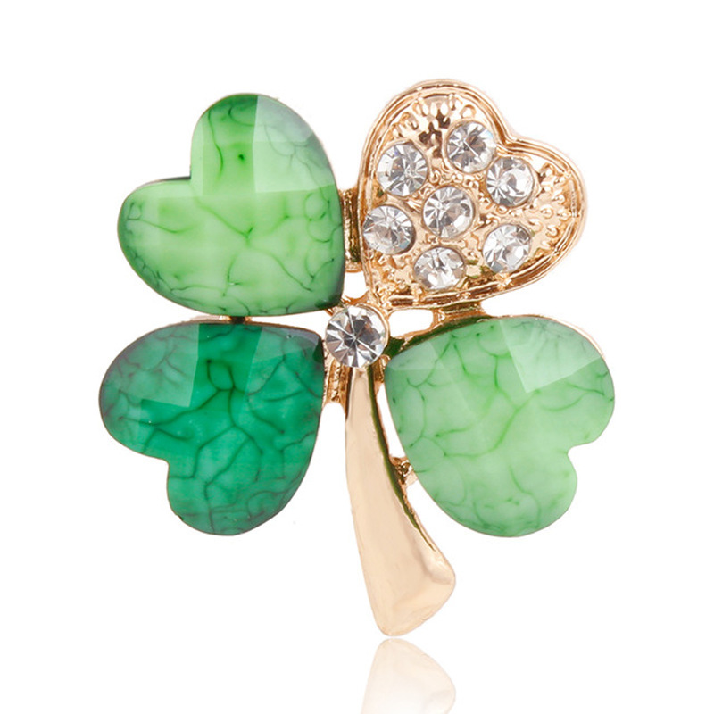 Lucky Green Leaf Clover Brooches For Women Crystal Rhinestones Lapel Pins For Women Wedding Bridal Bouquet DIY Jewelry(China)