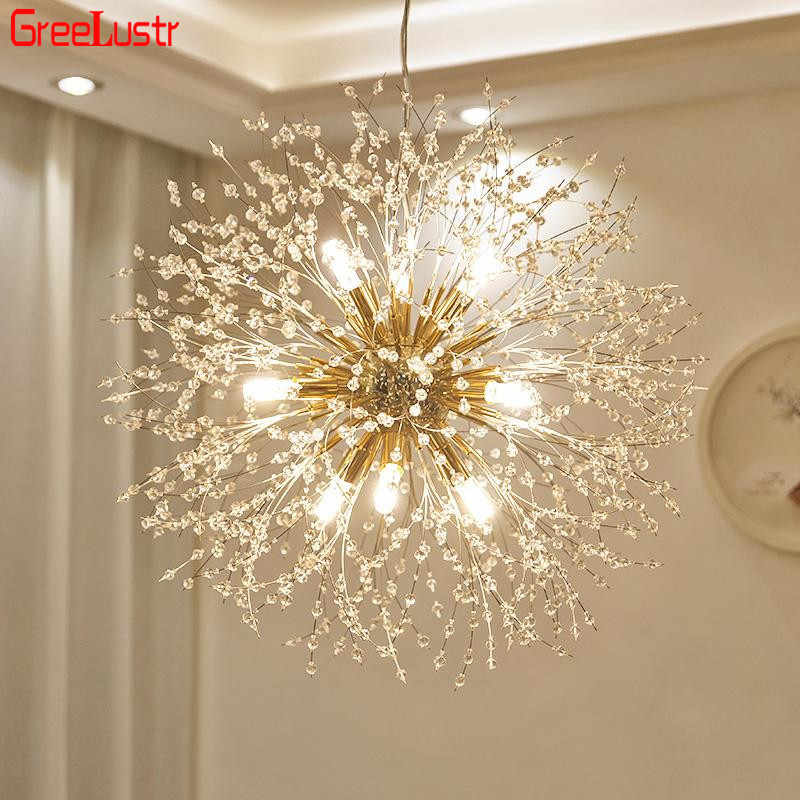 Modern Dandelion Chandeliers Lighting for Bedroom Kitchen Wrought Iron Ceiling Chandelier Acrylic Firework Pendant Hanging Lamp