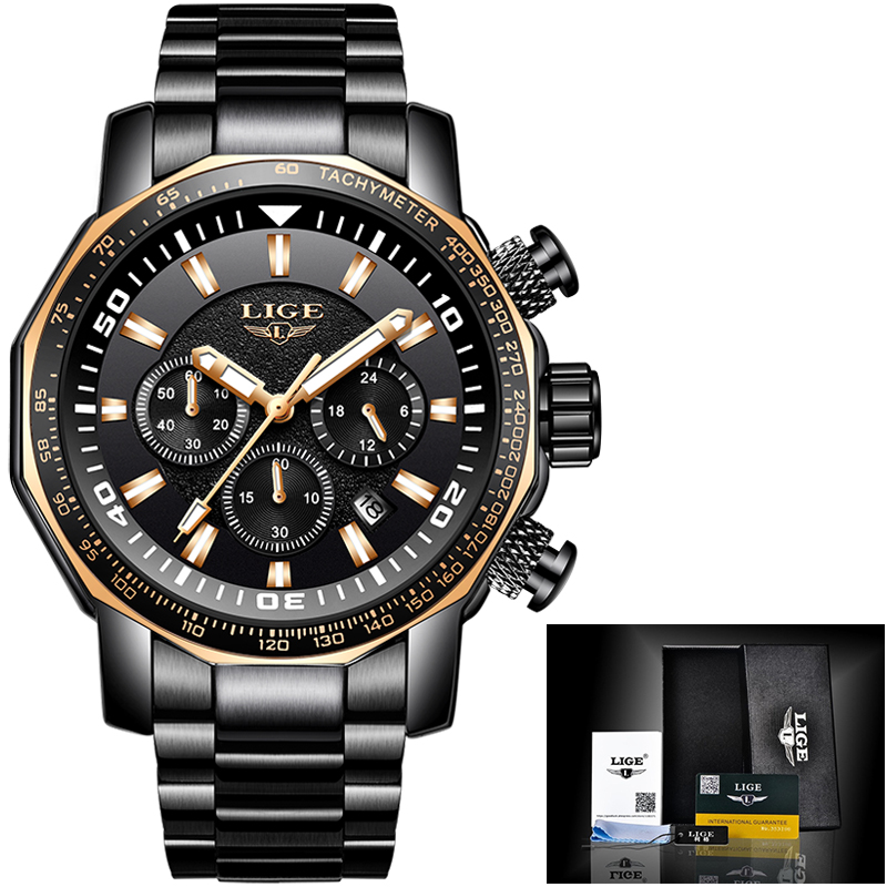 LIGE 2018 New Casual Fashion Mens Watches Military style Quartz Watch Men Sport Waterproof Big Dial