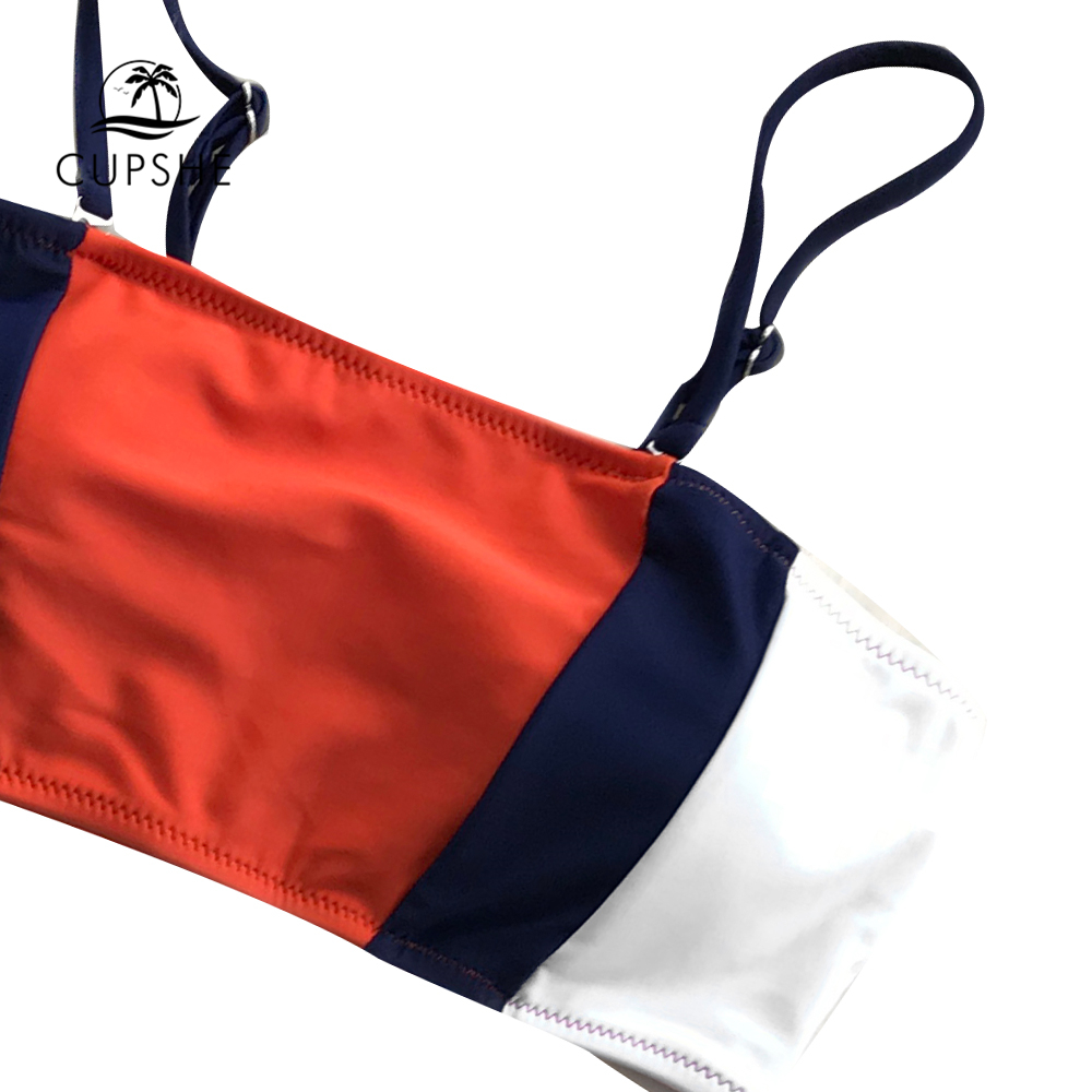 b71d75aa4140 [HOT DEAL] US $26.99 for CUPSHE Tricolor Bandeau Bikini Sets Women  Patchwork Mid Waist Adjustable Two Pieces Swimwear 2019 Girl Beach Bathing  Swimsuits