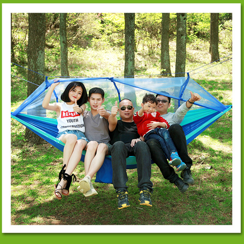 Image 3 - VILEAD 260*140 cm Camping Hammock with Mosquito Portable Stable High Strength Cavans  Hanging Bed Sleeping Hiking Camping Cot-in Camping Cots from Sports & Entertainment