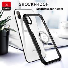 Luxury Transparent Case For New Apple iPhone X Xs Max XR Phone With Airbags Shockproof Protection Cover Magnetic car holder