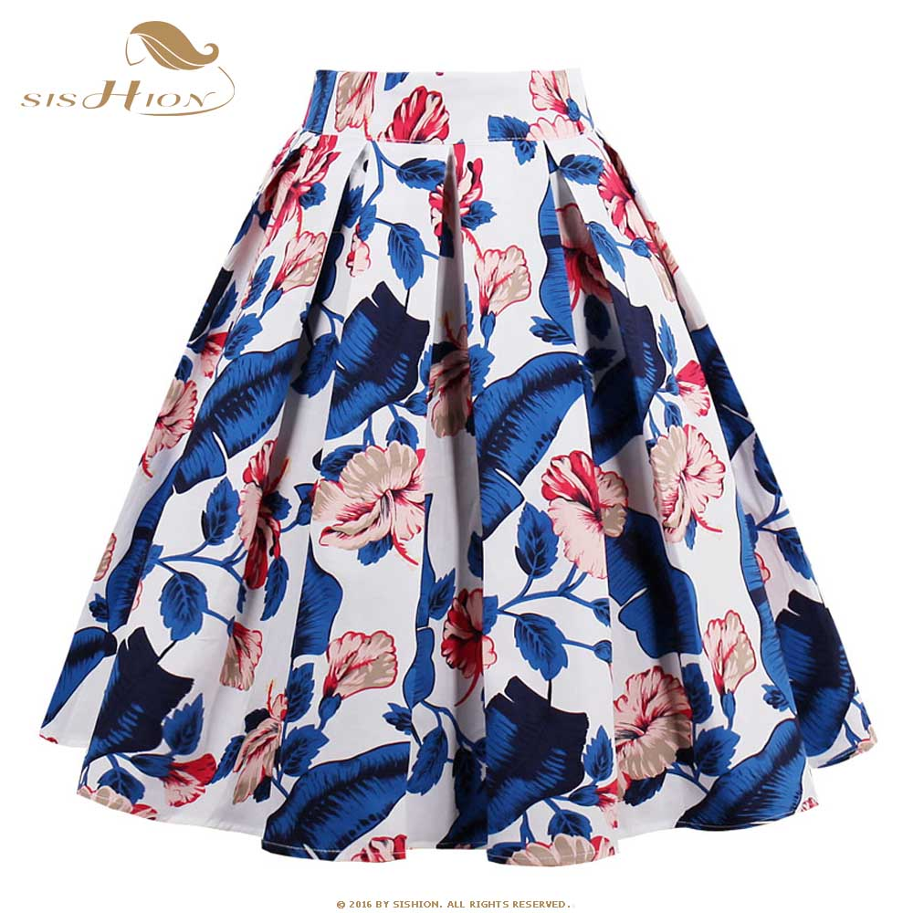 SISHION 50s Vintage Skirt Retro High Waist Pinup Floral Skirt Rockabilly Swing Summer Skirts For Women Plus Size XXL VD0530L