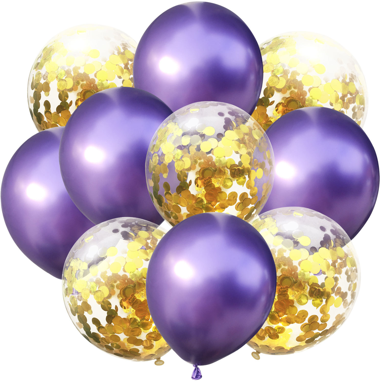 10 шт./лот, 12 дюймов, 5 шт., металлический цвет+ 5 шт., конфетти, латексные шары, для детей, для дня рождения, украшения, шары, мультяшная шляпа, игрушка - Цвет: purple gold