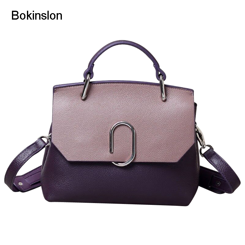 Bokinslon Woman Bags Crossbody Bags Split Leather Fashion Female Shoulder Bags Popular Stitching Color Ladies Handbags lignt brown stitching design crossbody bags