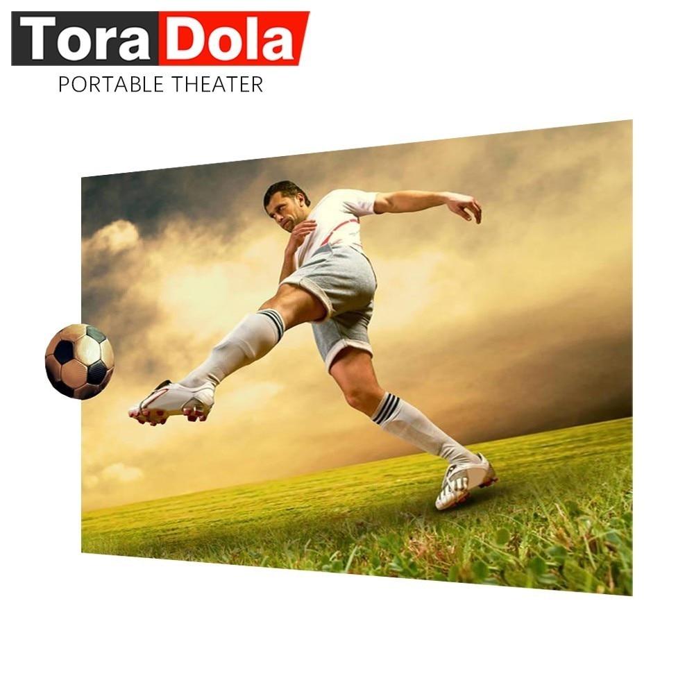 Écran Anti-lumière de projecteur de TORA dole, écran 16:9 d'amélioration de luminosité de 60/100 pouces pour le cinéma à la maison, projecteur.