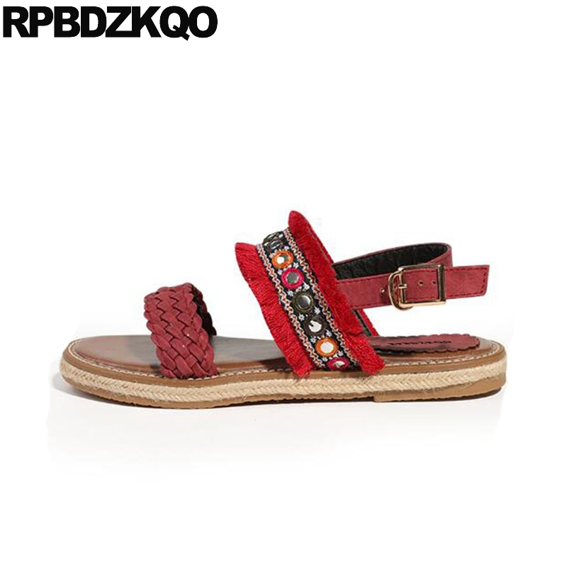 все цены на Ethnic Embellished Fringe Embroidery Toe Ring Espadrilles Red Shoes Sandals Leisure Fashion Bohemia Style Women Rope Strap Flat