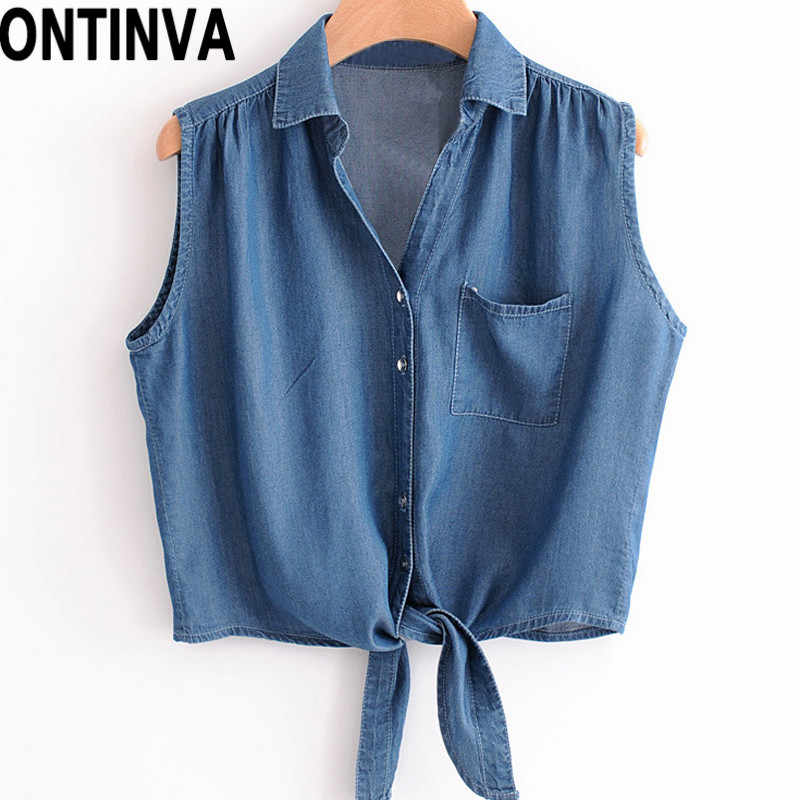 32385a48 Summer Sleeveless Denim Blusas Feminina for Women Short Tops and Blouse  Jean Tie Front Top with
