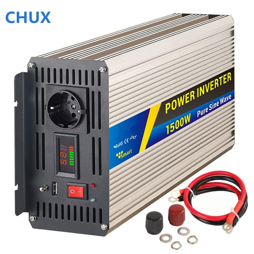 1500W Peak power 3000W Pure Sine Wave Inverter DC 12V 24V to AC 110V 220V,Off Grid Portable Smart Power Inverter black box 74082