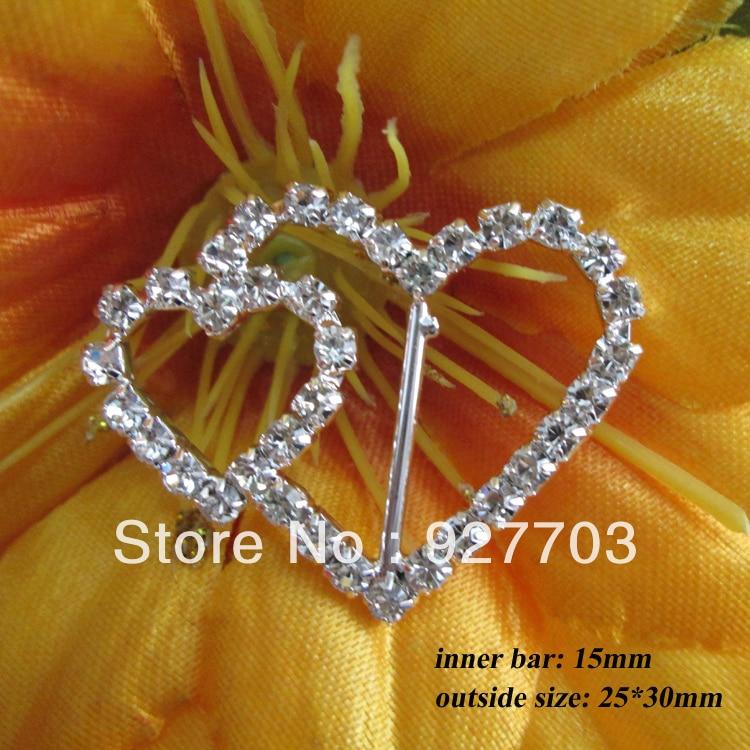 (CM28 15mm innner bar)50pcs heart rhinestone buckle for wedding invitation card