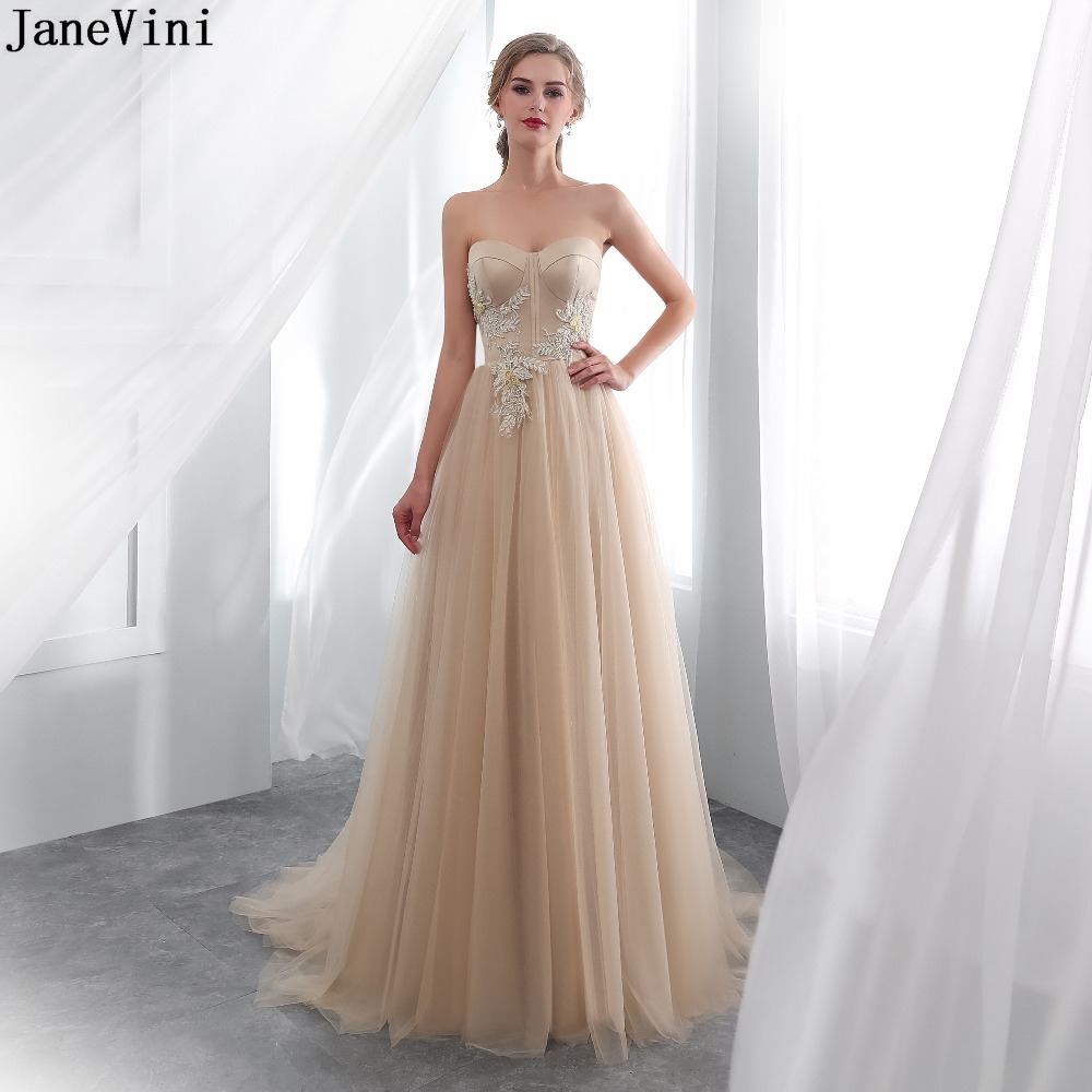 JaneVini Elegant Champagne Appliques Tulle Long   Bridesmaid     Dresses   Sweetheart Lace Beading A Line Sweep Train Formal Prom Gowns