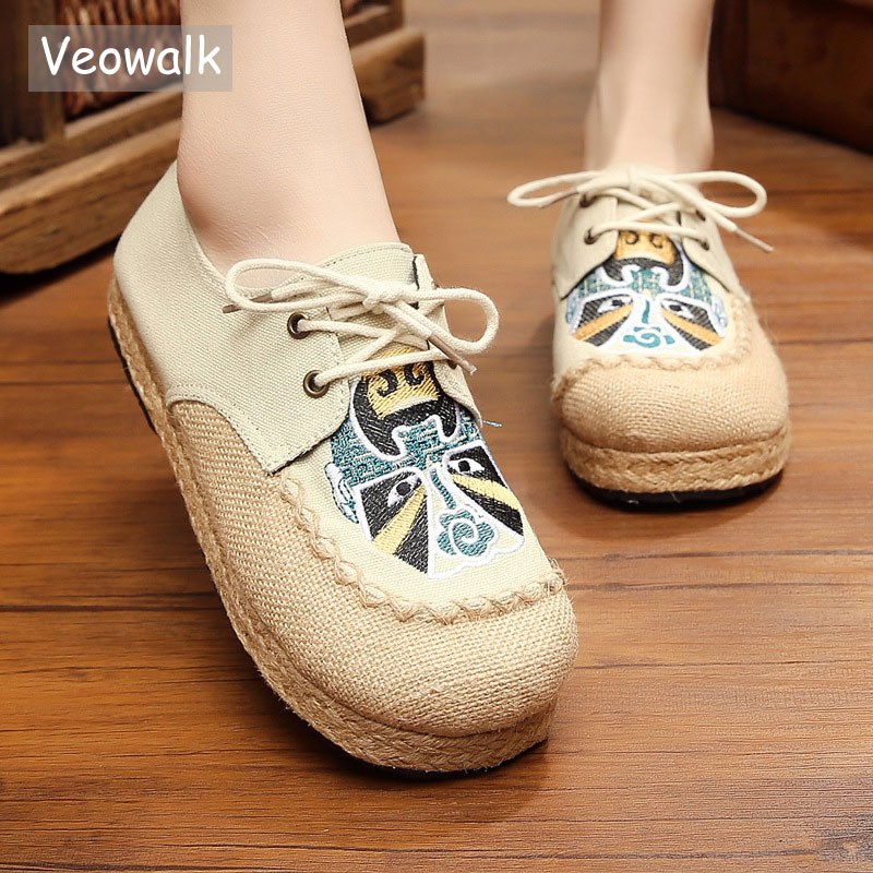 Veowalk Beijing Opera Embroidery Womens Casual Linen Cotton Loafers Lace Up Vintage Ladies Walking Flat Shoes Plus Size 35-44