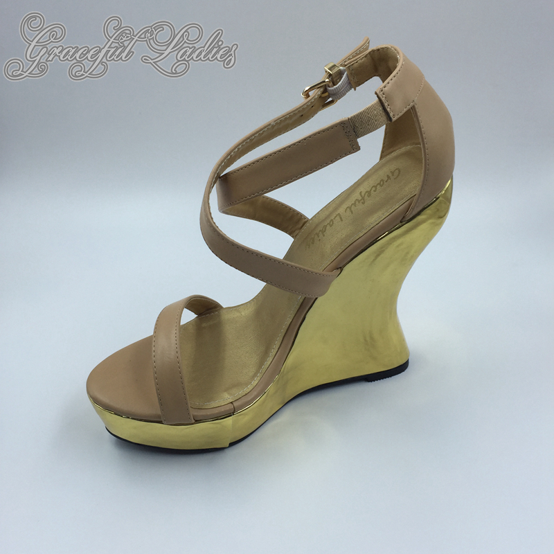 Nude Soft Leather Women Wedge Sandals Strange Heel Platform Extra High Heels Open Toe Plus Size Ladies Shoes Summer Style Sandal