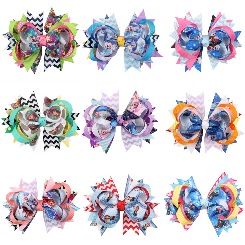 Baby Girls Hair Bows Clip Hair Pins Princess Elsa Anna Ribbon Bow With Alligator Clip Kids Hair Accessories Headwear 10 Colours 2pcs bowknot girl kids mini hair clip hairgrip satin hair ribbon bows hairpin accessories for girls hair clips hairclip barrette