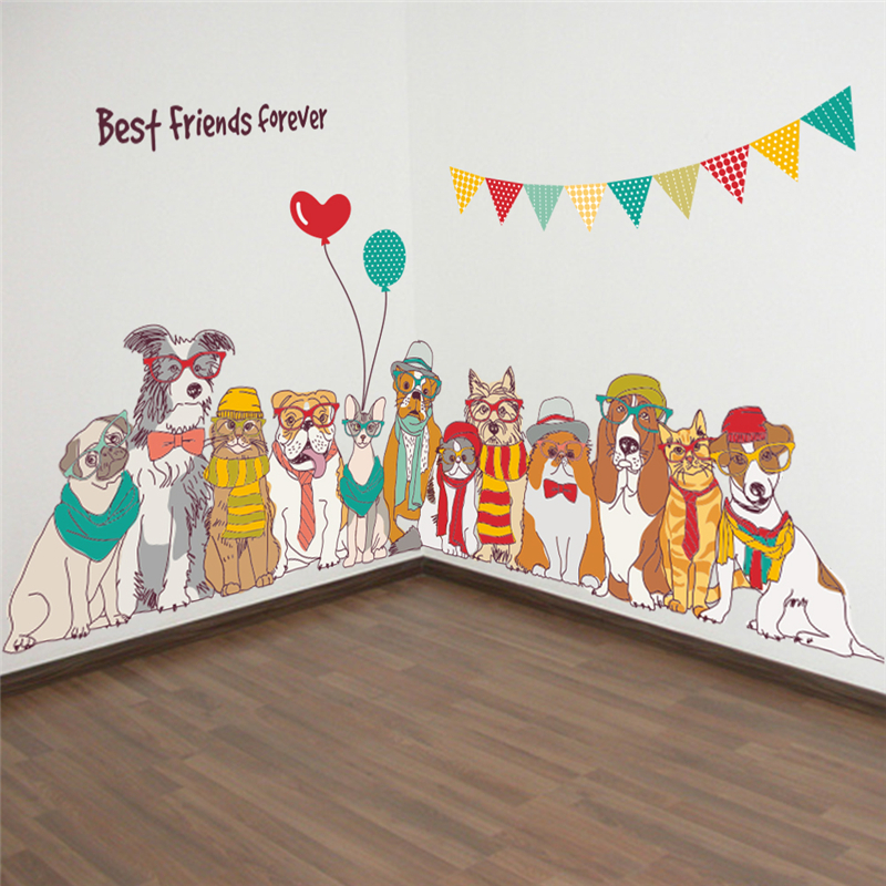 cartoon animal dogs best friends forever wall decals for kids rooms home decor pvc wall decals 60*90cm mural art diy posters