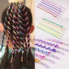 6 шт./партия, головная повязка радужного цвета, милая повязка для волос для девочек, Длинные эластичные резинки для волос, аксессуары для волос, случайный цвет#17