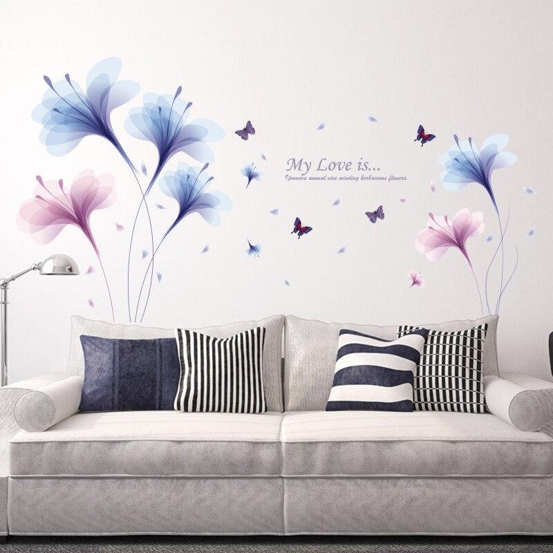 Lila Traum Blume Wandaufkleber Wohnzimmer Sofa TV Wand Dekoration  Schlafzimmer Nacht Romantische Tapete Wandbild