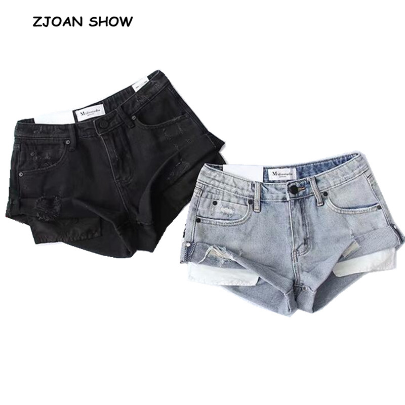 2 Color Hight Street High Waist Roll Up Cuffs Short Denim Shorts Ripped Denim Short Pants Sexy Summer Wide Leg Short Jeans Women