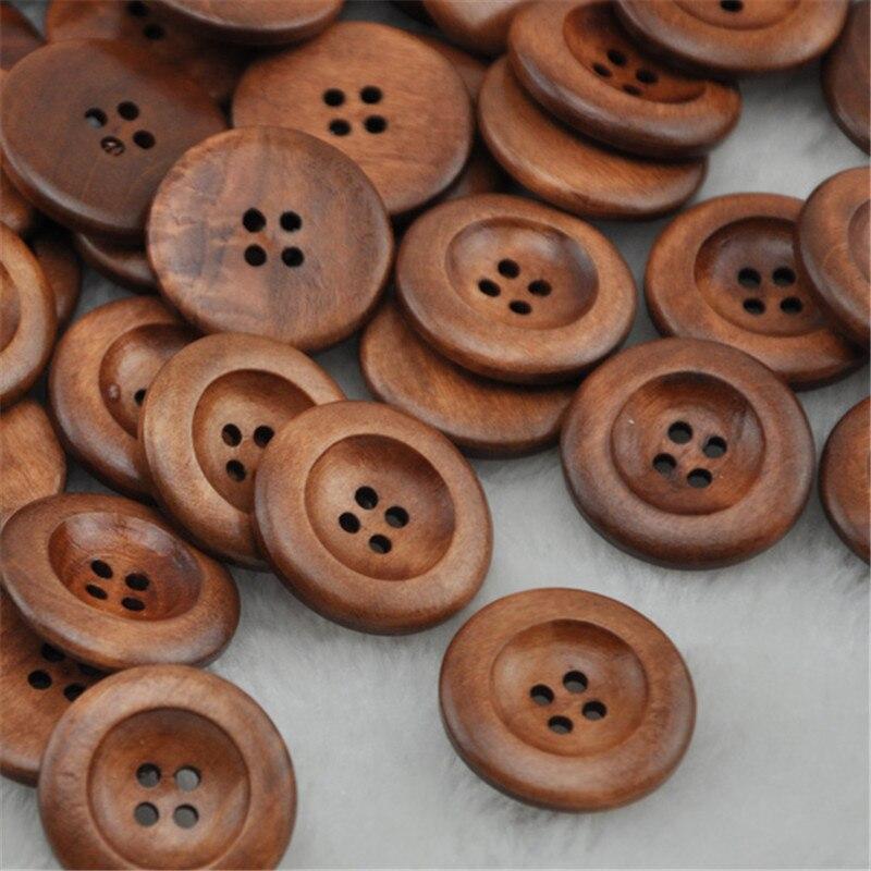 Freies Verschiffen 20/40 stücke Kaffee Runde Holz-taste Zum Nähen 25,0mm WB221