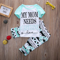Summer Clothes 2016 2pcs Baby Girls Casual T-shirt Tops+Pants Outfits Summer Clothes Set age 1-6Y