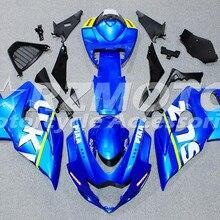 Мотоциклы Полный обтекатели комплект подходит для Suzuki GSXR1000 K5 2005 2006 GSXR-1000 05 06 ABS пластик+ крышка бака на заказ синий белый