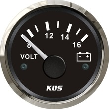 KUS 52mm voltmeter volatge gauge 12V 8-16V for marine car with backlight