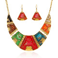 Top Quality geometry colourful resin necklace earrings indian jewelry parure bijoux femme for Party Accessories S0513