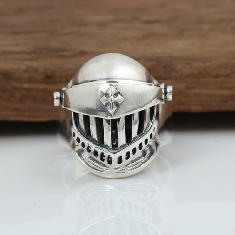 Cool 925 Sterling Silver Helmet Armor Ring Men Skull Rings 925 Punk Jewelry for Boy Girl Cosplay Customized Ring Dropshipping