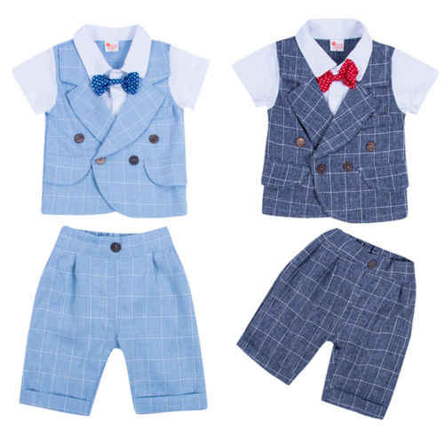 2 STUKS Set Baby Baby Boy Gentleman Wedding Kleding Bowtie Tops Shorts Outfits Kleding Set