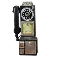 Decoración del hogar modelo de teléfono Vintage colgante de pared artesanía adornos Retro muebles del hogar figuritas teléfono decoración miniatura Gif
