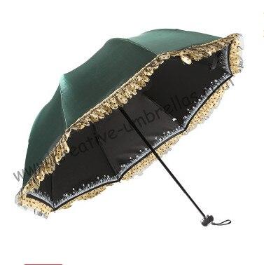 4 pcs/lot couleur libre option femmes vert UPF> 50 + pliant mini parapluie 5 fois noir revêtement Anti-UV poche dentelle parasol