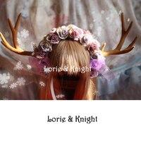צבי בעבודת יד הורן & פרחים לוליטה ילדה מורי KC אבזר שיער סרט פיות