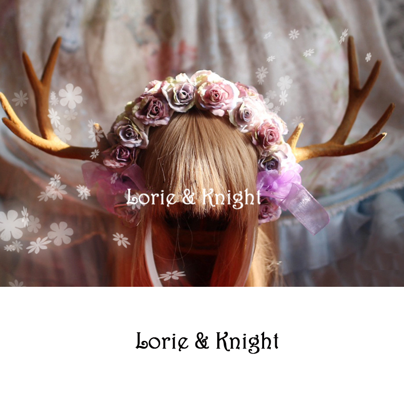 Handmade Deer Horn & Flower Lolita Mori Girl Fairy Headband KC Hair Accessory юбка other flower lolita b113