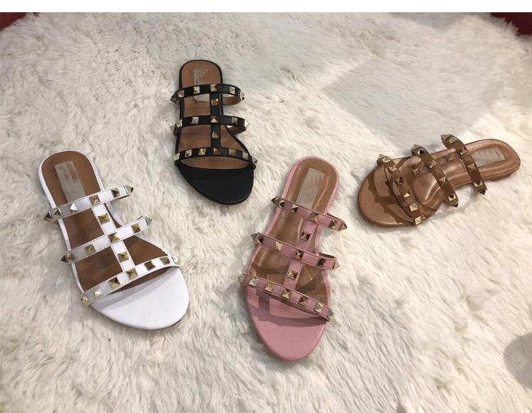 2019 Brand Women s Shoes Luxury Jewelry Letter V Beach Fashion Wear New Flat Slippers Big