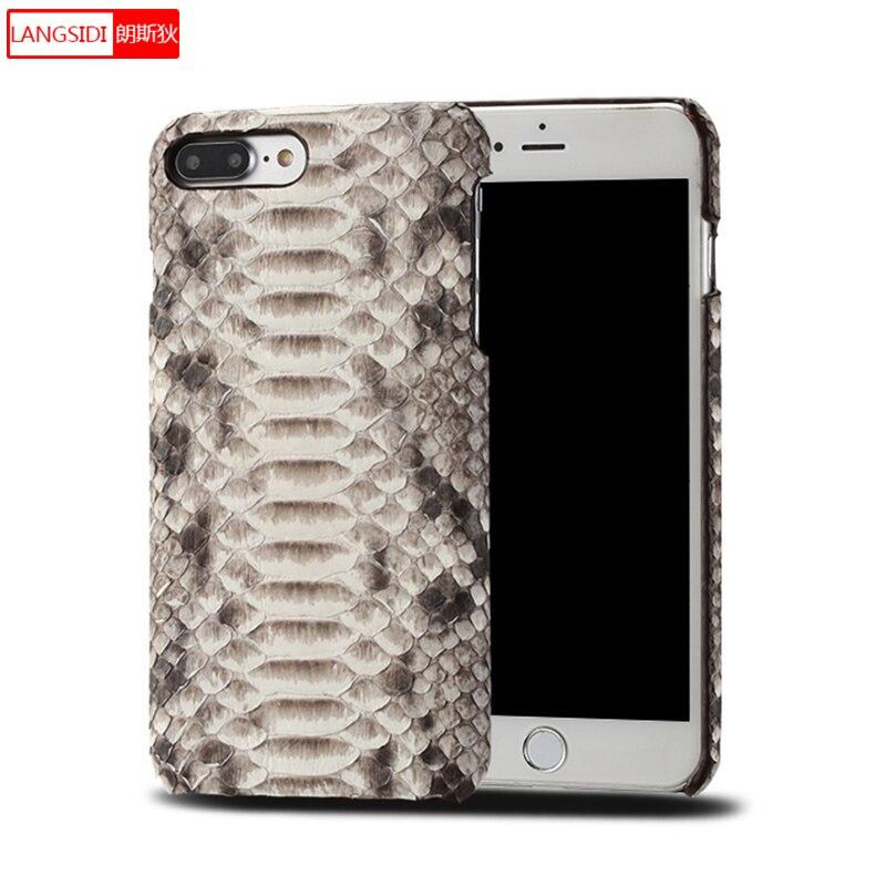 Véritable peau de Python En Cuir Rayures téléphone cas pour iphone x xS XR 5 6 7 8 8 plus Soft touch de luxe demi-paquet étui de protection
