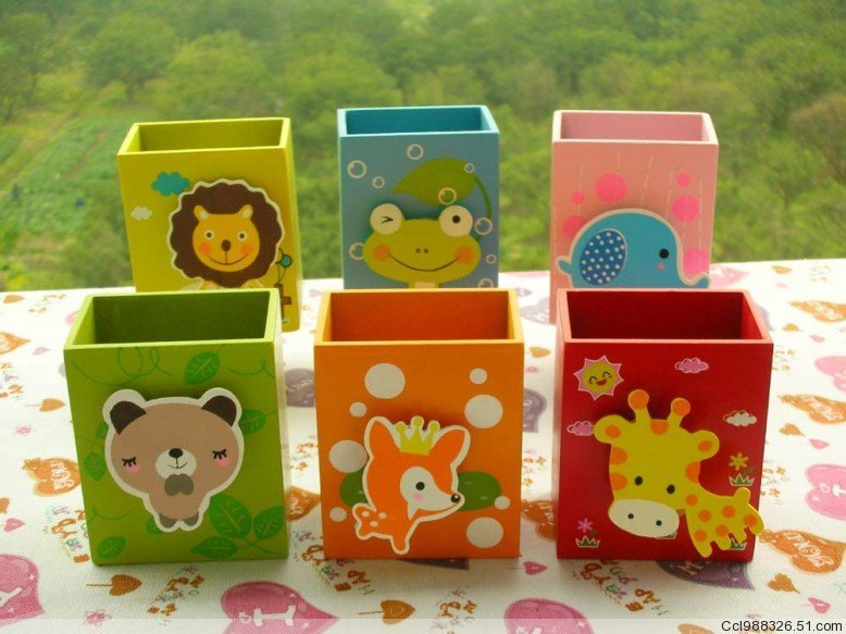 Pen Stand Designs For Kids : Free shipping great gifts for kids cute cartoon wooden
