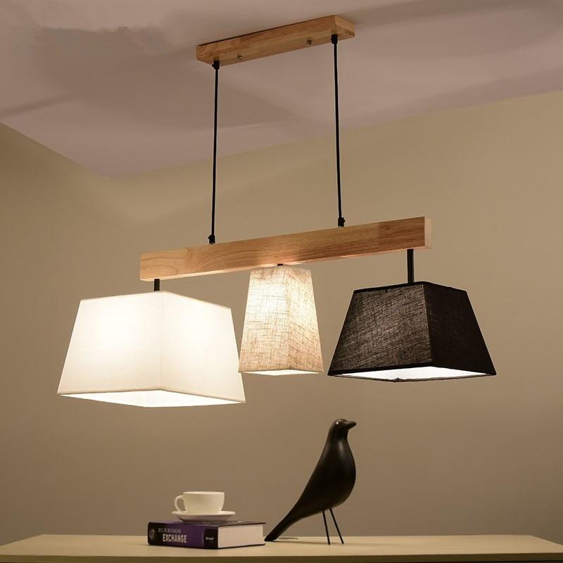 Elegant Fabric Pendant Lights Lampadario Lampshades Hanging Lamp For Dining Suspension Bar Lamps Wood Kitchen Lighting|hanging lamp|pendant lights|fabric pendant light - title=