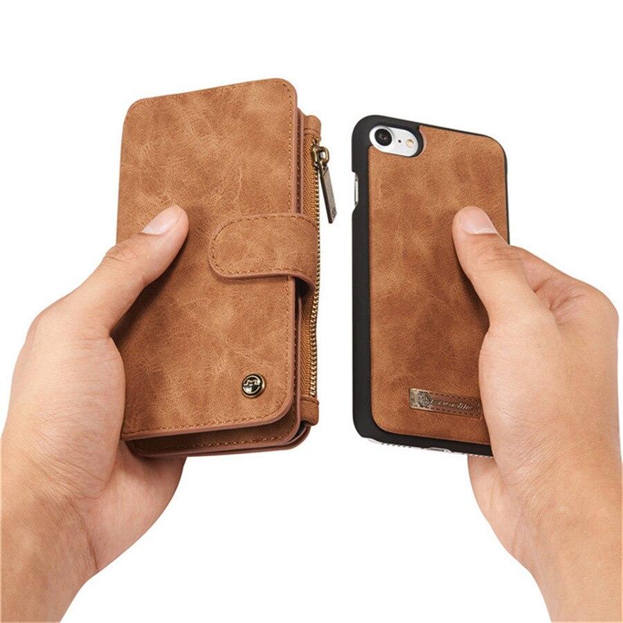 Untuk iPhone 6 Kasus Kulit Sapi Kulit 2in1 Balik Dompet Telepon Bag - Aksesori dan suku cadang ponsel - Foto 5