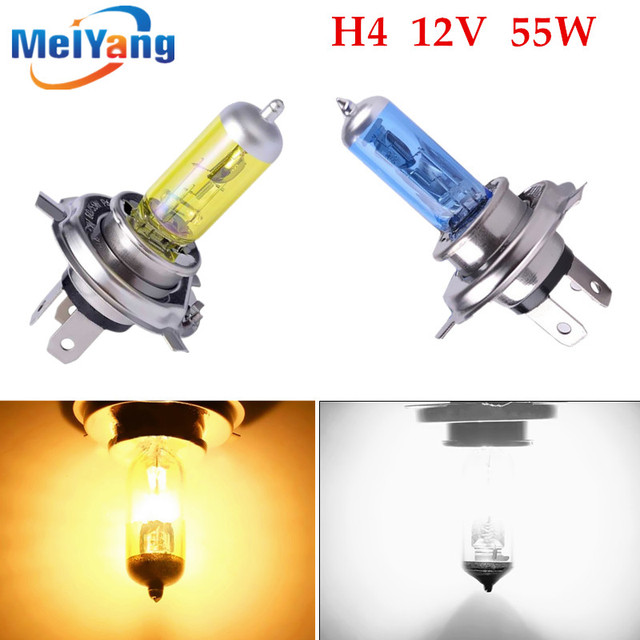 h4 55w lamp 6000k/3000k 12v White / Yellow fog lights halogen bulb car headlight daytime running lights