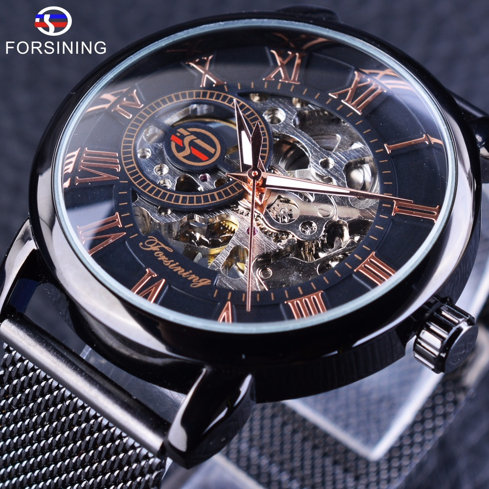 Forsining Black Steel Transparent Case Roman Dial 3D Logo Engraving Men Mechanical Watches Top Brand Luxury Skeleton Wrist Watch forsining 3d skeleton twisting design golden movement inside transparent case mens watches top brand luxury automatic watches