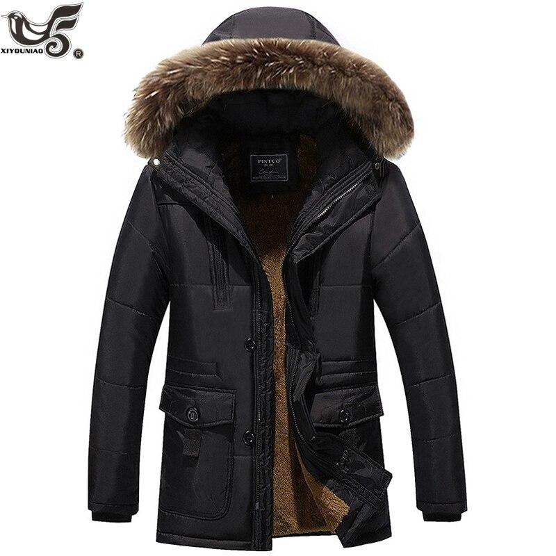 XIYOUNIAO veste d'hiver moyen âge hommes Plus épais manteau chaud veste décontracté à capuche parka manteau veste grande taille 6XL 7XL 8XL