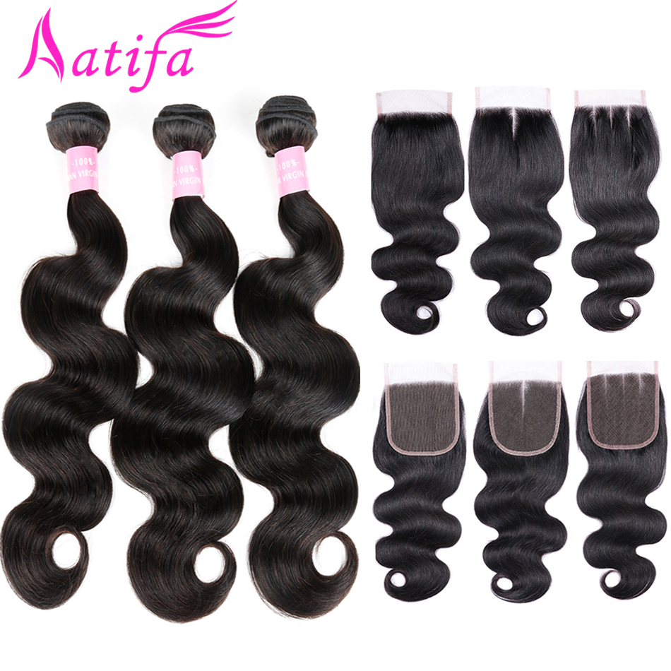 Brazilian Body Wave Hair With Closure Human Hair 3 Bundles With Lace Closure 4x4 Aatifa Remy