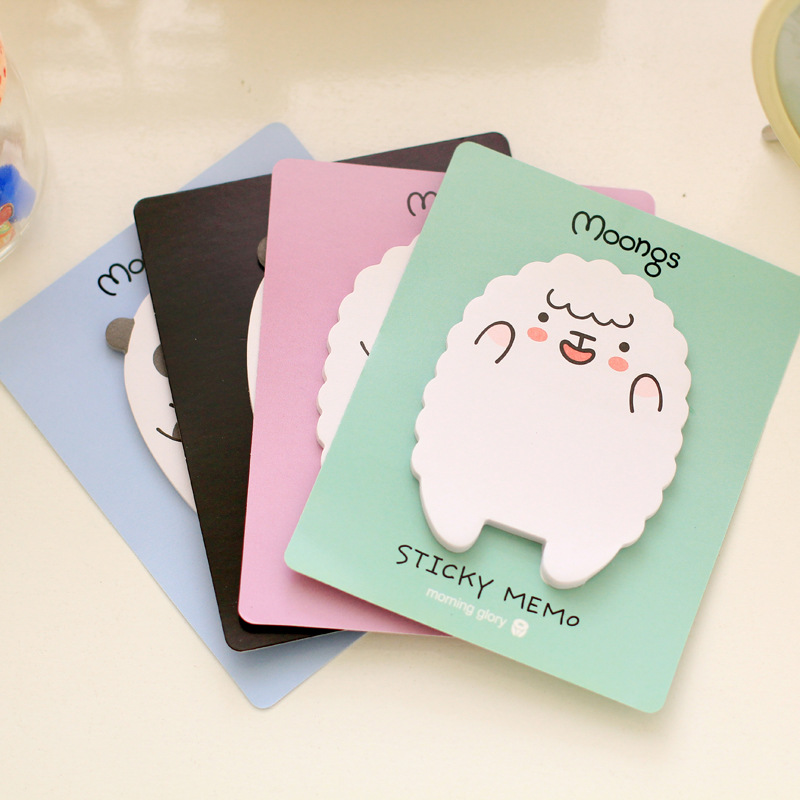 4Pack/Lot Wholesale Sheep Cute Bear Panda Post It N Times Moongs Memo Pad Notebook Student Sticky School Label Gift E0070