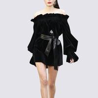 Видеть оранжевый Винтаж Платье черного цвета элегантные велюр вечерние платье пикантные летние платье Slash с длинным рукавом платье миди с п