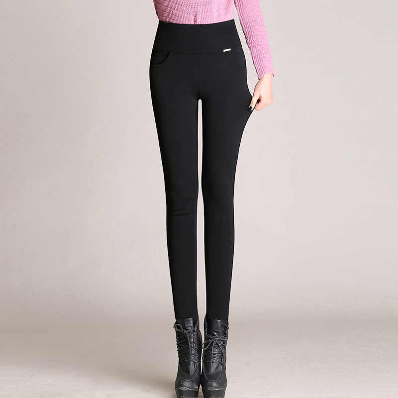 667bf3dfee4 ... WKOUD Plus Size Winter Warm Leggings For Women High Waist Black Solid Pencil  Pants Blue Thicken ...