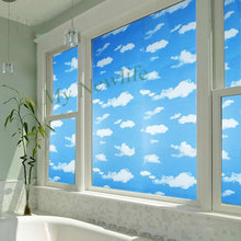 sky and cloud frosted glass window film parlor bedroom bathroom privacy protection stickers Self-adhesive home decor 45/60*200cm
