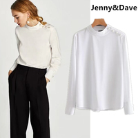 Jenny Dave New Arrival Blusas Kimono Blouse Women England Stand Collar Pearl Decoration In Shoulder Urban