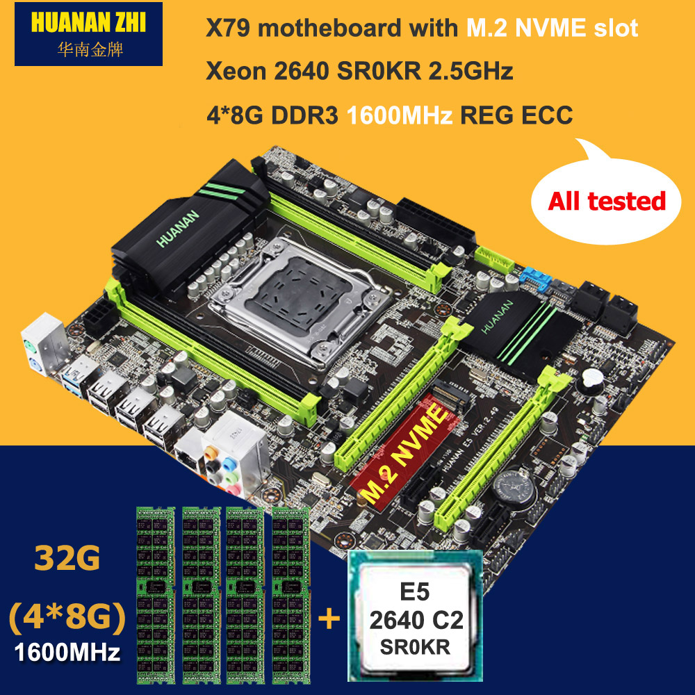 Brand motherboard with M.2 slot HUANAN ZHI X79 motherboard bundle with CPU Intel Xeon E5 <font><b>2640</b></font> 2.5GHz RAM 32G(4*8G) DDR3 RECC image