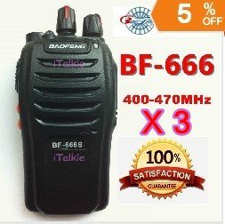3 X BAOFENG BF-666S UHF 400-470Mhz Two Way Radio retail and wholesales Small and compact